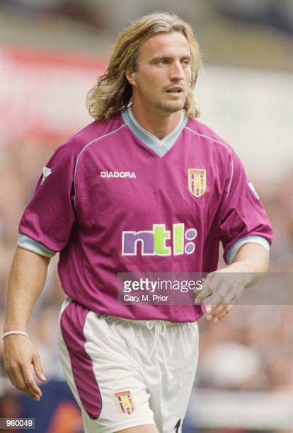 David Ginola of Aston Villa in action during the FA Barclaycard Premiership match against Tottenham Hotspur played at White Hart Lane in London The...