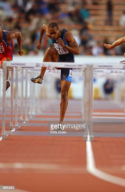 Dawane Wallace of the USA competes in the semifinals of the men's 110m hurdles during the 8th IAAF World Championships in Edmonton Alberta Canada...