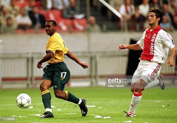 Didier Agathe of Celtic scores the 2nd goal during the UEFA Champions League Third Qualifying Round First Leg between Ajax and Celtic at the...