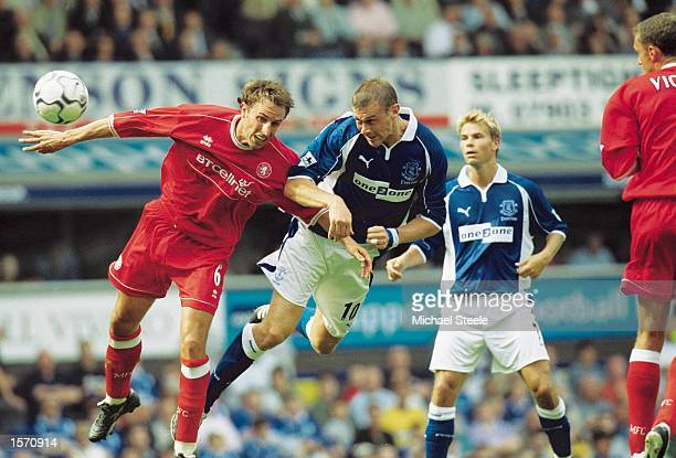Duncan Ferguson of Everton gets ahead of Gareth Southgate of Middlesbrough during the FA Barclaycard Premiership match between Everton and...
