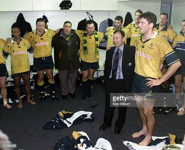 Eddie Jones and John Eales of Australia in the dressing rooms after Australia won the Bledisloe Cup Australia defeated New Zealand 2315 at Carisbrook...