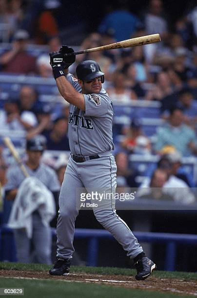 Edgar Martinez of the Seattle Mariners at bat during the game against the New York Yankees at Yankee stadium in the Bronx New York The Mariners...