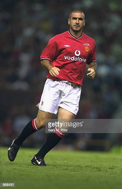 Eric Cantona makes a comeback in the Manchester United shirt during the Ryan Giggs Testimonial match against Celtic played at Old Trafford in...
