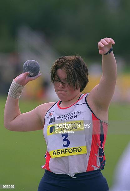 Eva Massey of Great Britain in action in the Shot putt during the Norwich Union sponsored International between Great Britain and France at the Julie...