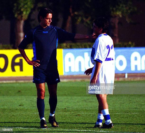 Filippo Inzaghi of the Italian National team meets Diego Maradona Junior of the Italy Under 16 side during national team training at the Coverciano...