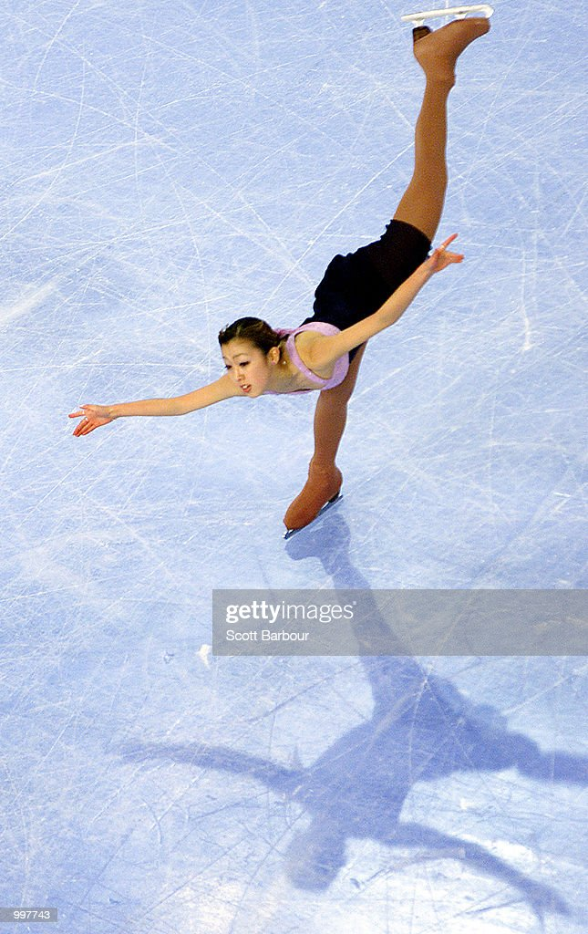 Fumie Suguri of Japan in action whilst winning bronze during the Ladies Free Skating held at the Brisbane Entertainment Centre at the Goodwill Games in Brisbane, Australia. DIGITAL IMAGE. Mandatory Credit: Scott Barbour/ALLSPORT
