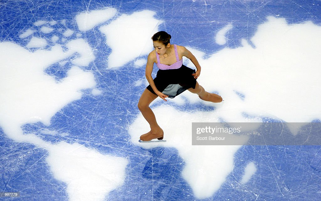 Fumie Suguri of Japan in action whilst winning bronze in the Ladies Free Skate during the Figure Skating held at the Brisbane Entertainment Centre at the Goodwill Games in Brisbane, Australia. DIGITAL IMAGE. Mandatory Credit: Scott Barbour/ALLSPORT