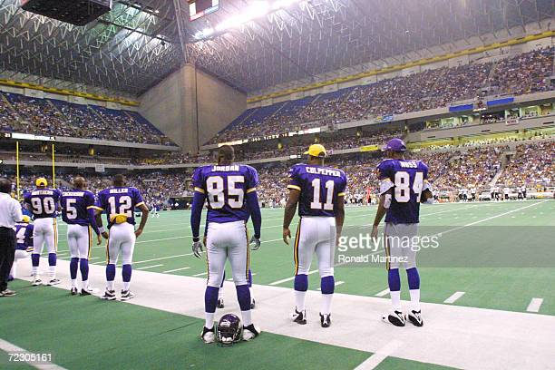 General view of the stadium from the sideline of the Minnesota Vikings during the preseason game against the New Orleans Saints at the Alamo Dome in...