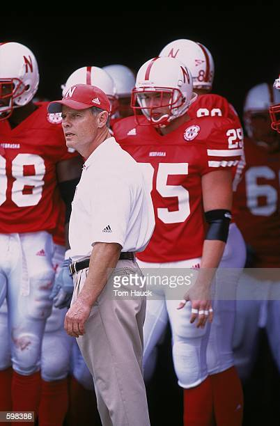 Head Coach Frank Solich of the Nebraska Cornhuskers watching the action from the sideline during the game against the Texas Christian Horned Frogs at...
