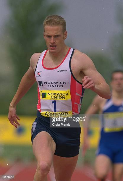 Jared Deacon of Great Britain in action in the 400m during the Norwich Union sponsored International between Great Britain and France at the Julie...