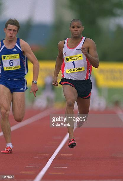 Jason Gardener of Great Britain in action in the 100m during the Norwich Union sponsored International between Great Britain and France at the Julie...