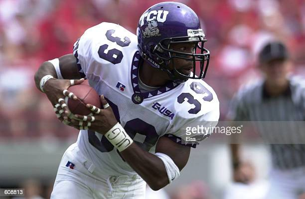 Jason Goss of Texas Christian University carries the ball against Nebraska during the first half at Memorial Stadium in Lincoln Nebraska DIGITAL...