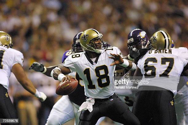 Jeff Blake of the New Orleans Saints drops back to throw a pass against the Minnesota Vikings during the preseason game at the Alamo Dome in San...