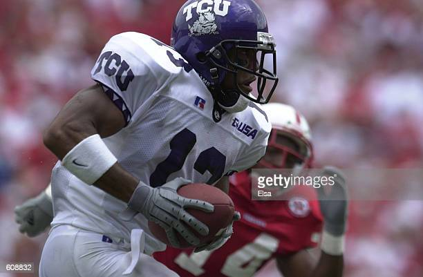 Jerrod Braziel of Texas Christian University avoids a Nebraska hit during the second half against Nebraska at Memorial Stadium in Lincoln Nebraska...