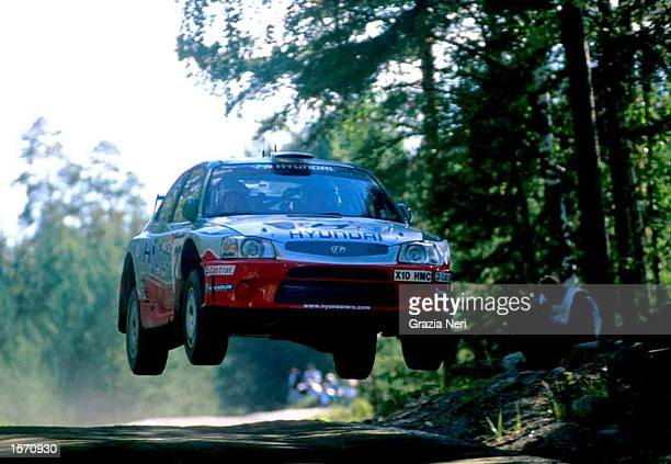 Juha Kankkunen driving for Hyundai during the Neste Rally a part of the World Rally Championship held in Finland Mandatory Credit GRAZIA