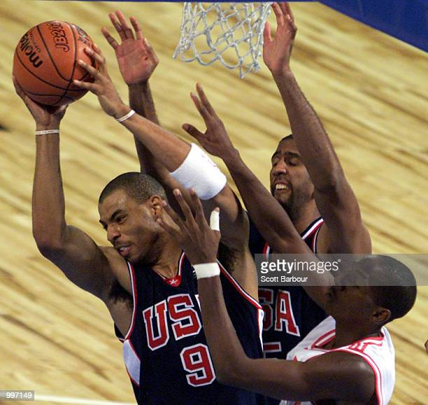 Kenyon Martin of USA in action during the USA v Cuba Basketball game at the Goodwill Games in Brisbane Australia DIGITAL IMAGE Mandatory Credit Scott...