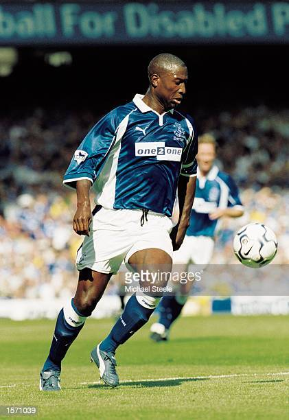Kevin Campbell of Everton in action during the FA Barclaycard Premiership match against Middlesbrough played at Goodison Park in Liverpool England...