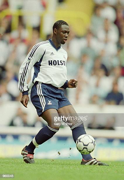 Ledley King of Tottenham Hotspur in action during the FA Barclaycard Premiership match against Aston Villa played at White Hart Lane in London The...