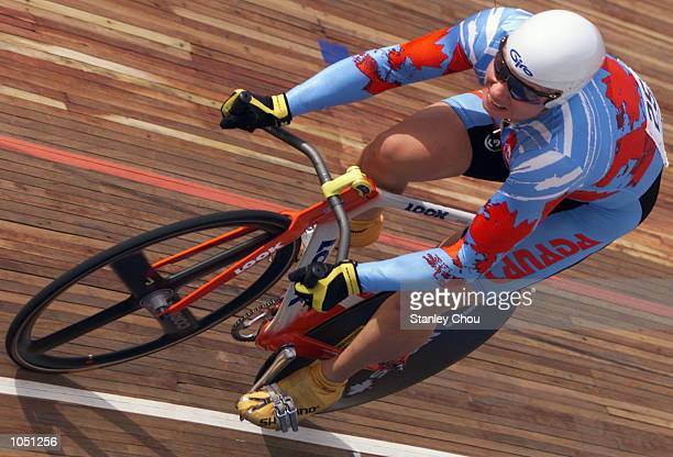 Lori Ann Meunzer of Canada powers her way to winning the Gold Medal during the final of the Women 500 meters Time Trial Event held at the Rakyat...