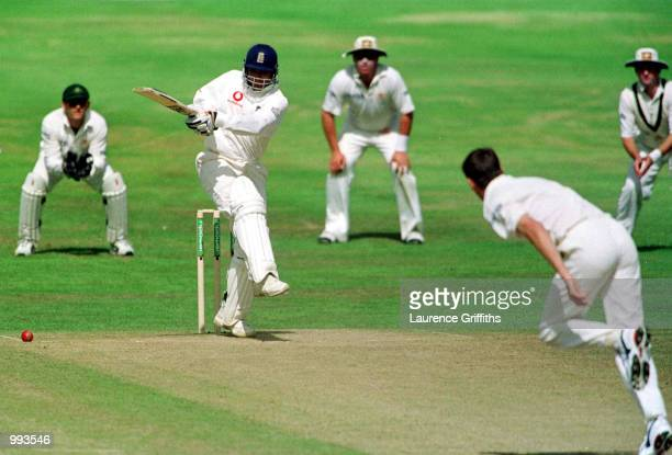 Mark Butcher of England hits out during the 5th day of the 4th NPower test match between England and Australia at Headingley Leeds Mandatory Credit...