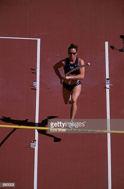 Mary Saver of the United States running during the Women's Pole Vault Final Event for the IAAF World Championships at the Commonwealth Stadium in...