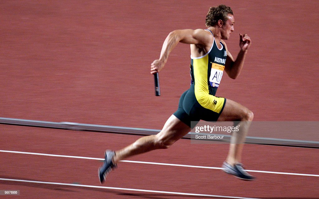 Matt Shirvington of Australia in action during the Mens 4 x 100 Metre relay at the athletics held at ANZ Stadium at the Goodwill Games in Brisbane, Australia. DIGITAL IMAGE. Mandatory Credit: Scott Barbour/ALLSPORT