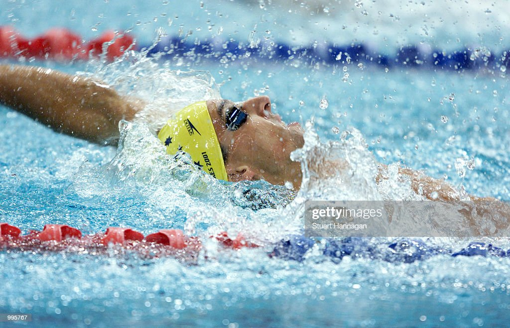 Matthew Welsh of Australia in action during the backstroke leg of the Mens 4 x 100 Metres Medley Relay at the Chandler Aquatics Centre at the Goodwill Games in Brisbane, Australia. DIGITAL IMAGE. Mandatory Credit: Stuart Hannagan/ALLSPORT
