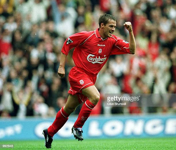 Michael Owen of Liverpool celebrates after scoring the first goal during the Liverpool v West Ham Utd Barclaycard Premiership match at Anfield...
