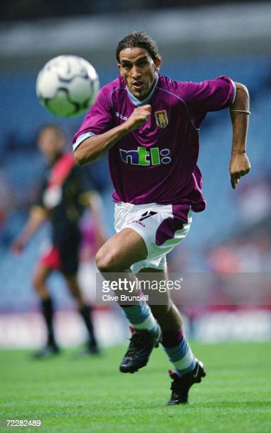 Moustapha Hadji of Aston Villa gives chase during the UEFA InterToto Cup semifinal second leg against Rennes played at Villa Park in Birmingham...