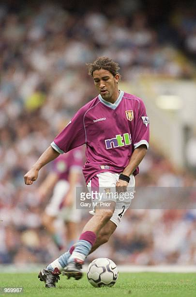 Moustapha Hadji of Aston Villa in action during the FA Barclaycard Premiership match against Tottenham Hotspur played at White Hart Lane in London...