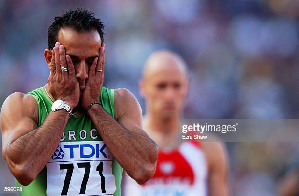 Mustapha Sdad of Morocco cools down after competing in the semifinals of the men's 400m during the 8th IAAF World Athletic Championships in Edmonton...
