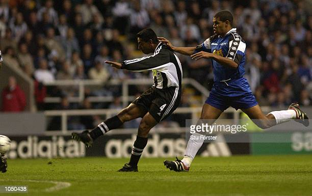 Nolberto Solano of Newcastle opens the scoring during the Intertoto Cup Final, Second Leg between Newcastle United and Troyes at St James Park,...