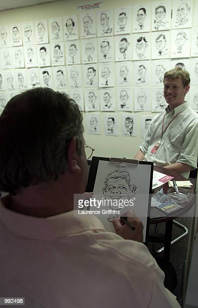 Npower cartoon drawing during the Fourth Test Match between England and Australia at Headingley leeds DIGITAL IMAGE Mandatory Credit Laurence...