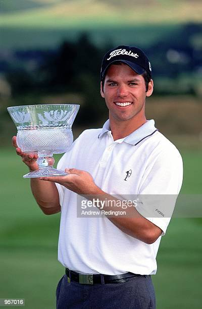 Paul Casey of England holds the trophy after winning the Scottish PGA Championship at the Gleneagles Hotel in Scotland Mandatory Credit Andrew...