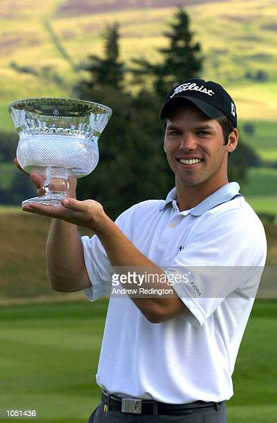 Paul Casey of England poses with the trophy after winning the Scottish PGA Championship at Gleneagles Golf Club Scotland DIGITAL IMAGE Mandatory...