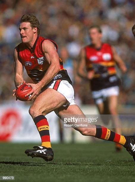 Peter Vardy for Adelaide in action during the round 18 AFL match played between the Port Adelaide Power and the Adelaide Crows held at Football Park...
