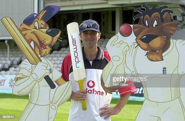 Phil the Cat Tufnell of England poses for a picture with some cartoon characters during the England nets session prior to the start of the 5th Ashes...