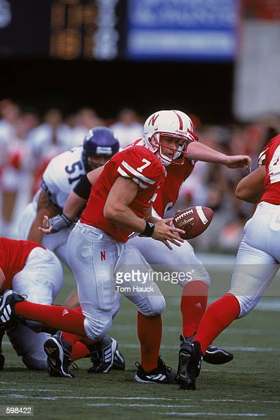 Quarterback Eric Crouch of the Nebraska Cornhuskers handing off the ball during the game against the Texas Christian Horned Frogs at Memorial Stadium...