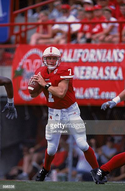 Quarterback Eric Crouch of the Nebraska Cornhuskers looking to pass the ball during the game against the Texas Christian Horned Frogs at Memorial...