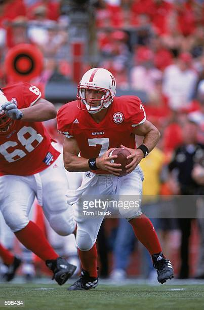 Quarterback Eric Crouch of the Nebraska Cornhuskers looking to throw the ball during the game against the Texas Christian Horned Frogs at Memorial...
