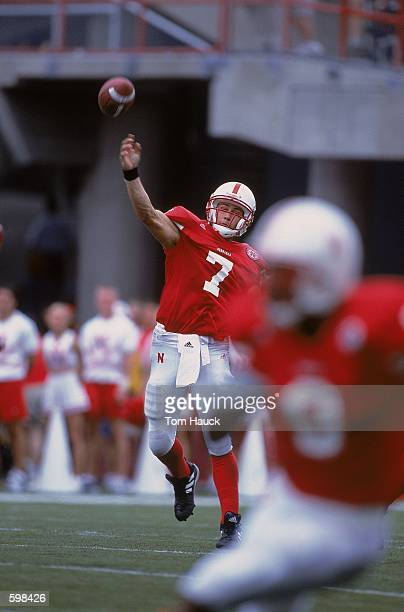 Quarterback Eric Crouch of the Nebraska Cornhuskers throwing the ball during the game against the Texas Christian Horned Frogs at Memorial Stadium in...
