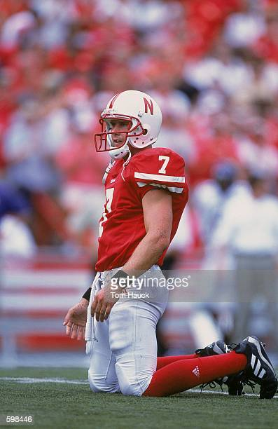 Quarterback Eric Crouch of the Nebraska Cornhuskers watches the play from the ground during the game against the Texas Christian Horned Frogs at...
