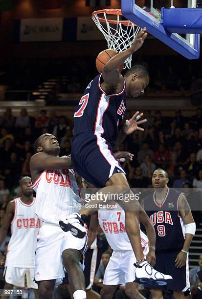 Rashard Lewis of USA dunks during the USA v Cuba Basketball game at the Goodwill Games in Brisbane Australia DIGITAL IMAGE Mandatory Credit Scott...