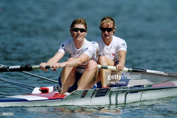 Sarah Birch and Jo Nitsch of Great Britain in action during the FISA World Rowing Championships held in Lucerne Switzerland Mandatory Credit Craig...