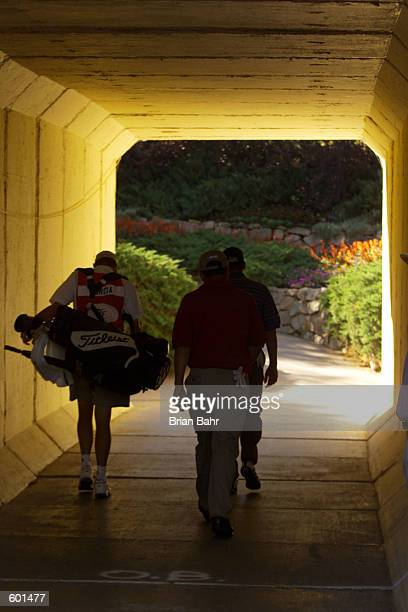 Sergio Garcia of Spain walks through a tunnel during the second round of the 2001 International at the Castle Pines Golf Club in Castle Rock Colorado...