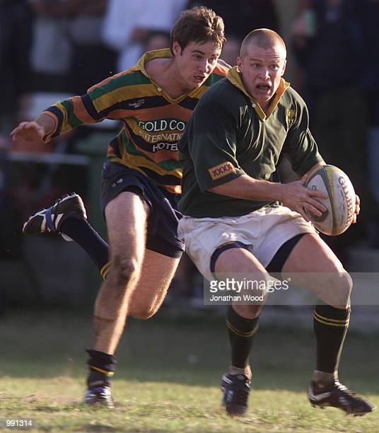 Shaun Richardson of Wests and Mike Hurlstone of Breakers in action during the 1st Division rugby match between the Gold Coast Breakers and Wests...