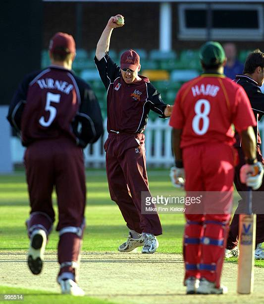 Somerset Sabres celebrate after Neil Burns of Leicestershire Foxes was run out for 52 in the Norwich Union League match at Grace Road Leicester...