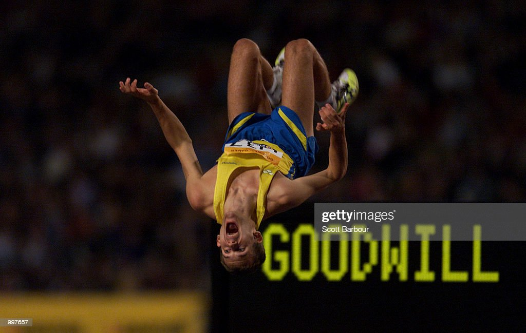 Stefan Holm of Sweden celebrates winning the Mens High Jump with a jump of 2.33 metres at the athletics held at ANZ Stadium at the Goodwill Games in Brisbane, Australia. DIGITAL IMAGE. Mandatory Credit: Scott Barbour/ALLSPORT