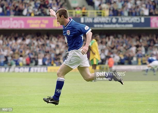 Steve Claridge of Millwall celebrates opening the scoring during the Nationwide League Division One match against Norwich City played at The New Den...
