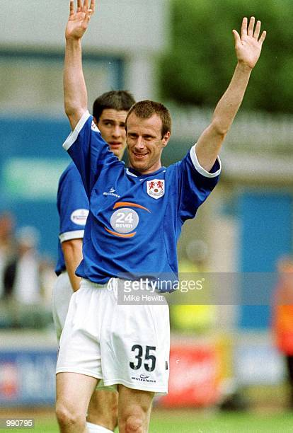 Steve Claridge of Millwall celebrates scoring the first goal during the Nationwide Division One match between Millwall and Norwich City at The Den...
